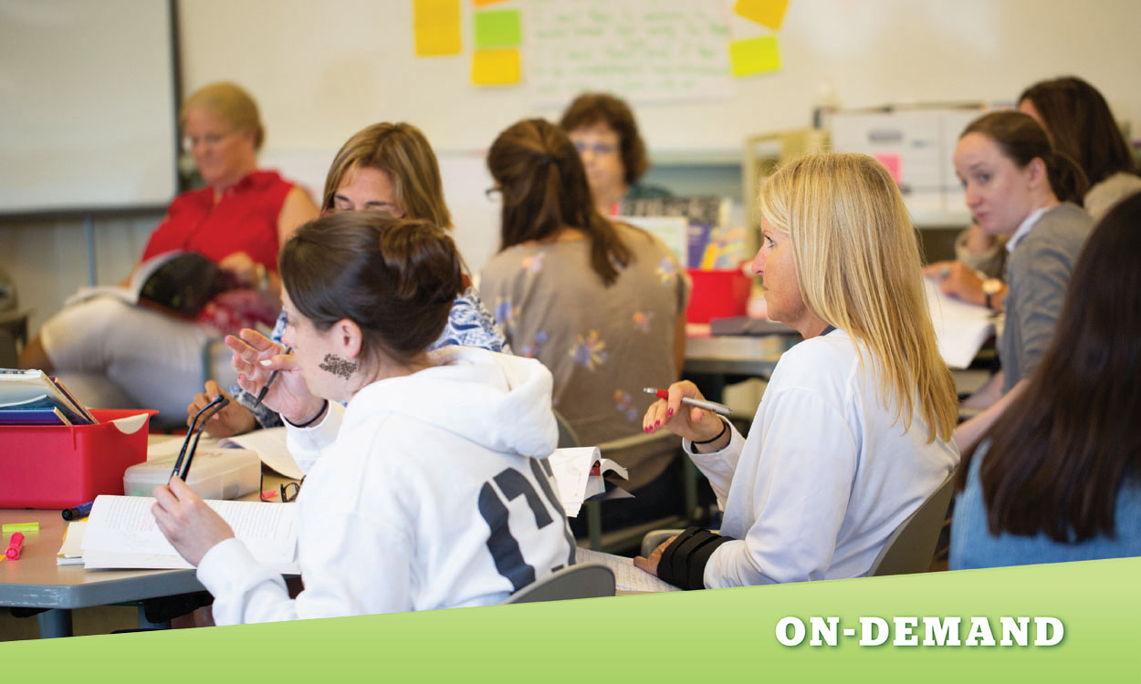 Teachers sitting around a table for a professional development training. Text reads: On-Demand