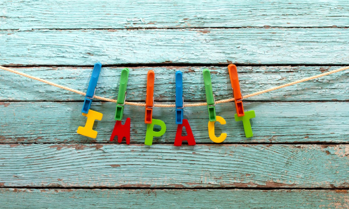 Photo of plastic letters spelling out the word impact.